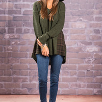 All I Ever Plaid Top, Olive