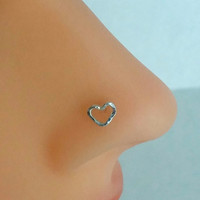 Heart Nose Ring Sterling Silver, Heart Nose Stud, Helix, Tragus, Cartilage