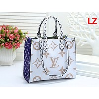 """Louis Vuitton "" fashion print color matching large casual wild large capacity handbag White"