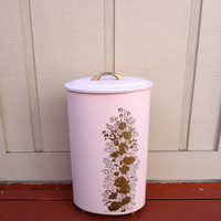 Vintage Metal Laundry Oval Hamper With Lid Pink With Gold Floral Design Some Light Wear