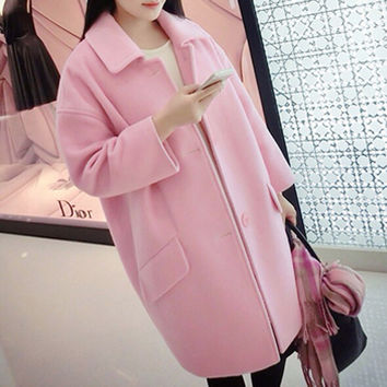 Buttoned Long Sleeve Coat