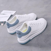 White Shoes For Women Female Thick Gym Shoes Woman Ventilation Hundred Up Blue Patchwork Skate Shoes Flat Trend Tennis Shoes