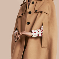 Wool Cashmere Blend Trench Cape