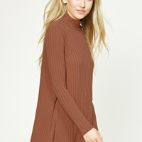 Ribbed Turtleneck Swing Dress