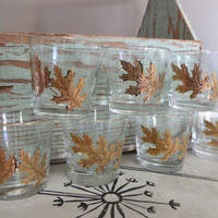 Old Fashioned Glassware Old Fashioned Glasses Vintage Barware Libby Glasses Gold Oak Leaves Hostess Gift Water Glasses Drinking Glasses