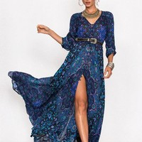"Boho Maxi Dress Navy Blue Floral ""Kiss The Sky"" Long Flowing Summer Gown Button Front Long Slit 3/4 Sleeves Royal Blue Turquoise Lavender Print Small Medium Large Or Extra Large"