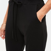 Missguided - Black Paperbag Waist Cigarette Pants