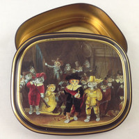 """Vintage Bentley's Of London Cat Tin Susan Herbert The Cats Gallery of Art """"The Night Watch"""" Rembrandt Whimsical Cat Tin Box Metal Stash Box"""