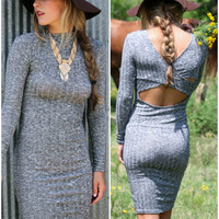 The Last Word Gray Long Sleeve Bodycon Sweater Dress With Back Cut Outs