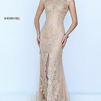 Nude Embroidered Cap Sleeve Long Prom Dress by Sherri Hill