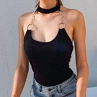 2020 new women's metal chain hanging neck sexy halter bodysuit