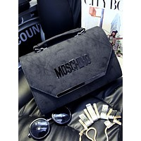 MOSCHINO fashion diagonal cross-stitching shoulder bag Messenger bag handbag F0470-1 Black
