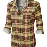 LE3NO Womens Plaid Roll Up Sleeves Button Down Shirt with Lace Detail (CLEARANCE)