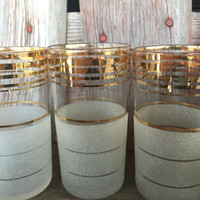 TEN 1950's White Frosted and Gold Striped Tumblers, MCM bar cart glasses, Mid Century Hollywood Regency Mad Men Bar Ware, barcart glassware