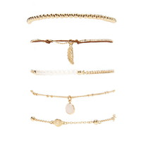 Faux Stone Chain Bracelet Set