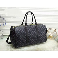 LV Popular Women Men Leather Multicolor Luggage Travel Bags Tote Handbag Black I-LLBPFSH