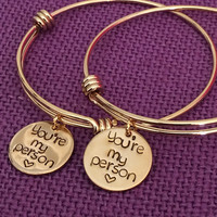 You're my person Bracelets - Best Friend Jewelry - Anatomy quote - BFF Jewelry - Youll always be my person - Gold color Friends forever