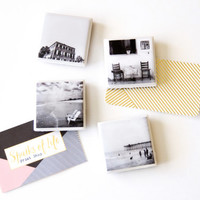 Black and white photo magnets, tiny magnets, fridge magnets, mini magnets, tile magnets, resin magnet set, housewarming gift, home gifts