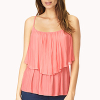 FOREVER 21 Woven Flounce Cami Coral