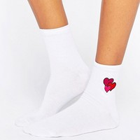ASOS Valentines Embroidered Heart Ankle Socks at asos.com