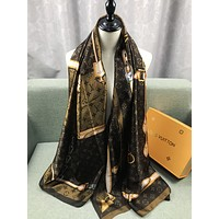 LV Silk Scarf Louis Vuitton Women Silk Kerchief Cape Scarf Scarves