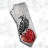 Valentinas Men's tie with heart, best gift for him. The Crow, The Raven, red crystal heart mens tie. Gothic necktie.
