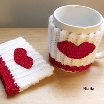 Kiss Lips Coffee Cup Sleeve Mug Hug Crochet Cozy Niatta