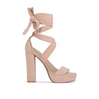 Suede Ankle Wrap Heels Blush