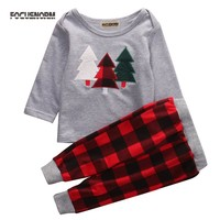 2017 Kids Baby Boys Girls Clothing New Long Sleeve Christmas Clothes Set T-shirt+Plaid Pants 2PCS Outfits Xmas Children Clothing