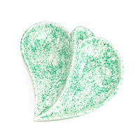 Heart Leaf Divided Dish - Retro Ceramic Pottery, Hand Painted Green Speckle & White - Holiday Treats, Trinkets - Vintage Home Decor