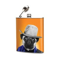 Pug Dog Cowboy 6oz Stainless Steel Graphic Hip Flask