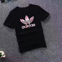 """Adidas"" Fashion Casual Clover Letter Print Round Neck Short Sleeve T-shirt Shirt Top Tee"