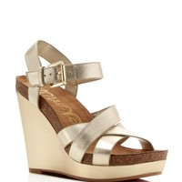 Sam Edelman Nelson Metallic High Heel Platform Wedge Sandals | Bloomingdales's