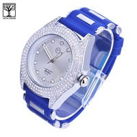 Jewelry Kay style Men's CZ Iced Out CZ Stoned Silicone Band Techno Pave Heavy Watches WR 7359