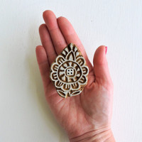 Flower Stamp: Hand Carved Wood Stamp, Handmade Wooden Stamp, Indian Printing Block from India for Textiles, Ceramics, Pottery, Mehndi Henna
