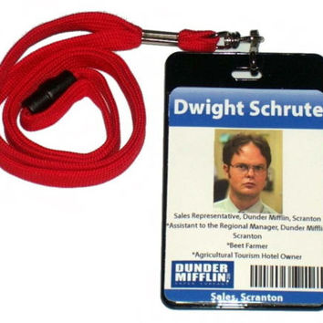 Dwight Schrute The Office Dunder Mifflin ID Badge Halloween Costume prop.