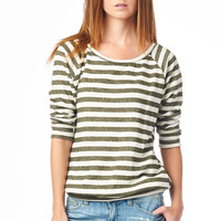 Olive Striped French Terry Raglan Pullover