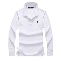 Hot Sale Ralph lauren MEN Long Sleeve Simple Polo Shirt 100% COTTON TOP