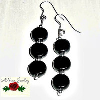 """Women's Earrings: Azabache and Sterling Silver 925 Beads """"So Pretty"""""""