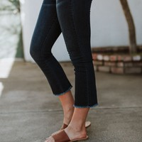 Kori Crop Flare Jeans - Dark Denim