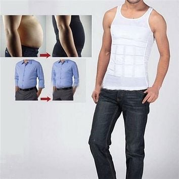 Men Corset Body Slimming Tummy Shaper Vest Belly Waist Girdle Shirt Black/White Shapewear Underwear Waist Girdle Shirts