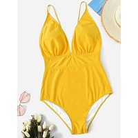 New solid color sexy one-piece ladies bikini swimsuit