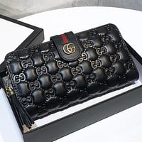 GUCCI Fashion New More Letter Leather Wallet Purse Handbag Black