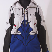 OTAKool: Hooded full zip sweatshirt inspired by SHINJI IKARI's plugsuit from Neon Genesis Evangelion. Made on demand!