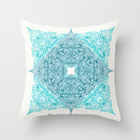 Teal Tangle Square Throw Pillow by Micklyn