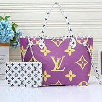 Lv Bag Louis Vuitton Big Bag Shoulder Bag Shopping Bag Colorful Print Monogram Purple