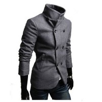 Partiss Mens Double Breasted High Neck Jacket