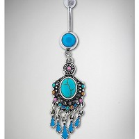 Boho Turquoise-Effect Dangle Belly Ring - 14 Gauge - Spencer's