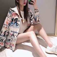 """Balenciaga"" Women Sports Casual Floral Print Long Sleeve Hooded Sunscreen Windbreaker Coat Sportswear"