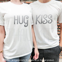 Hug Me and Kiss You couple TShirt - Tee Shirt Tee Shirts Size - S M L XL 2XL 3XL